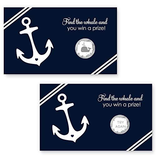 Nautical Scratch Off Card - Party Game - Navy and White - 28 Pack