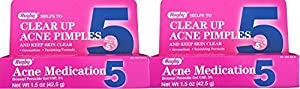 Benzoyl Peroxide 5 % Generic for Oxy Balance Acne Medication Gel for Treatment and Prevention of Acne Pimples, Acne Blemishes, Blackheads or Whiteheads. 1.5 oz. per Tube Pack 2 Total 3 oz. by RUGBY LABORATORIES