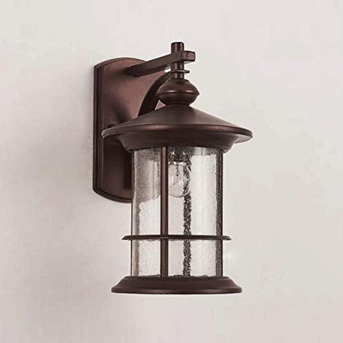 DLGGO American Country Minimalist Outdoor Wall Lamp Waterproof Doorway Courtyard Aisle Retro E27 Wall Light Exterior Landscape Light Balcony Porch Frosted Glass Villa Black Wall Sconce Dusk to Dawn