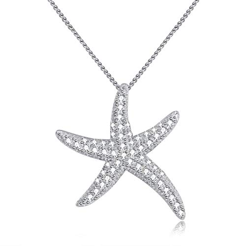 "MYVATN 925 Sterling Silver Starfish Pendant Necklace for Girls & Women 18"" (Starfish)"