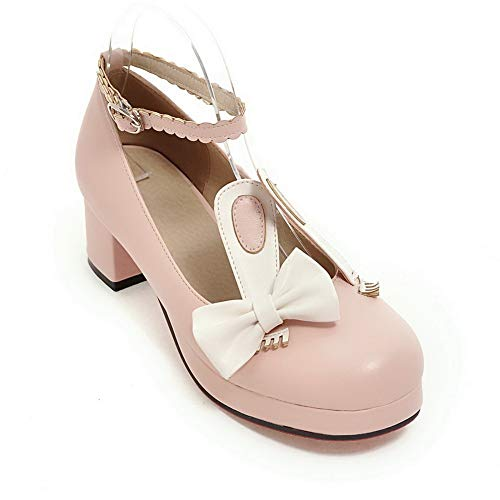 BalaMasa Womens Assorted Colors Bows Travel Urethane Pumps Shoes APL10587 Pink