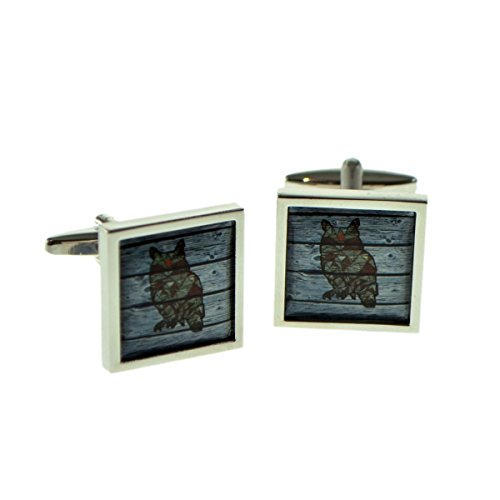 Square Framed Cufflinks - Geometric Owl On Driftwood Square Framed Cufflinks X2BOCSB075