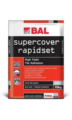 Supercover Rapidset Adhesive 15 Kg, Adhesive Grey BAL Floor Tile Adhesive (Powders), Per Unit