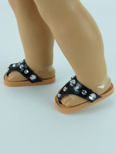 Black Jeweled Flip Flops for AG Dolls