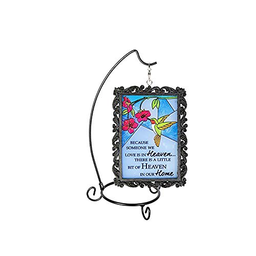 Kristine Stained Glass Hummingbird Memorial Plaque with Stand -