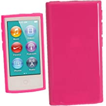 igadgitz Hot Pink Glossy Durable Crystal Gel Skin (TPU) Case Cover for Apple iPod Nano 7th Generation 7G 16GB + Screen Protector