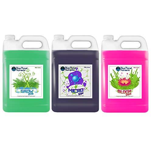 Blue Planet Nutrients Elite 3-Part Base Nutrients for Plants (128 oz Jugs) Gallon | Indoor Outdoor Soil Hydroponic Coco Coir Soil-Less Aero Gardens | Fertilizer Plant Food