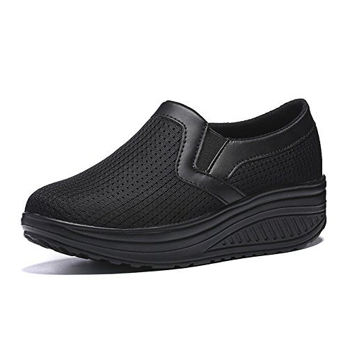 LUWELL Women's Walking Shoes Mesh Slip-On Platform Shoes Work Out Sneakers Women Shape Up Shoes in Black size 6.5