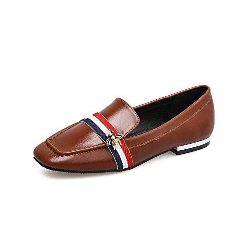 Zapatos os de Zapatos de Profundos de Boca Corte la Zapatos Mujer Plana Zapatos de Profunda 35 Qiqi Xue Peque de Zapatos Zapatos Cuadrados Marr Cabeza Mujer AP6qA