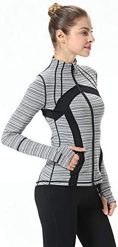 女性の長袖シャツ、長袖通気ヨガトップスと、ヨガを実行するためのジッパータイト親指穴ワークアウトトップス,C,S