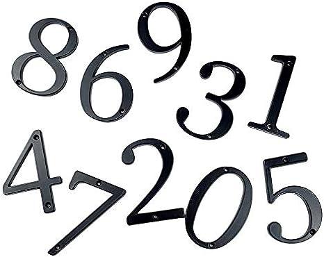 Aoforz-Belly Flop 10cm Grande casa Moderna n/úmero Puerta Direcci/ón de Casa n/úmeros de buz/ón de Correo para n/úmero de casa Digital Puerta Exterior Signo de 4 Pulgadas #0-9 Negro
