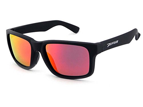 Peppers Polarized Sunglasses Beachcomber Matte Black w/Polarized Red Mirror Lens (Sunglasses Pepper Polarized)