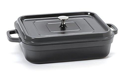 - G.E.T. Enterprises Grey 5 Quart Rectangular Roaster Pan, Cast Aluminum with Lid and Handles Heiss CA-010-GR/BK