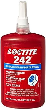 Loctite 24241 Blue 242 Medium Strength Threadlocker, 250