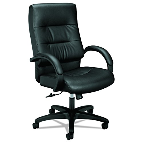 basyx by HON Leather Executive Chair - High Back Armed Office Chair for Computer Desk, Black (HVL691) by basyx by HON