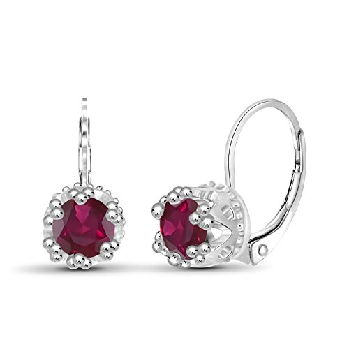 1.35ctw Genuine Ruby Gemstone Sterling Silver Crown Earrings