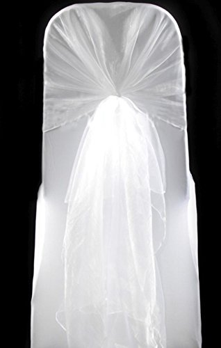 MDS Pack of 200 Organza hood Sashes Chair Sashes / Bows hoods sash for Wedding or Events Banquet Decor Chair Hood bow sash- white