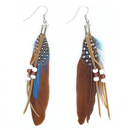 KISSPAT Nature Feather Earring Cute Handmade Goose Feather Super Light Boho Dangle Earrings for Women Girls, Brown