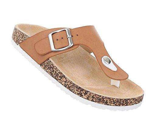 Damen Kork Sandalen | Komfort Sandalen Kork | bequeme Hausschuhe | Schnallen Sandalen | Fussbett Leder Pantoffeln | Schuhcity24 Modell Nr1 Camel