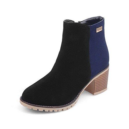 Women's Low-Top Assorted Color Zipper Round Closed Toe Kitten-Heels Boots
