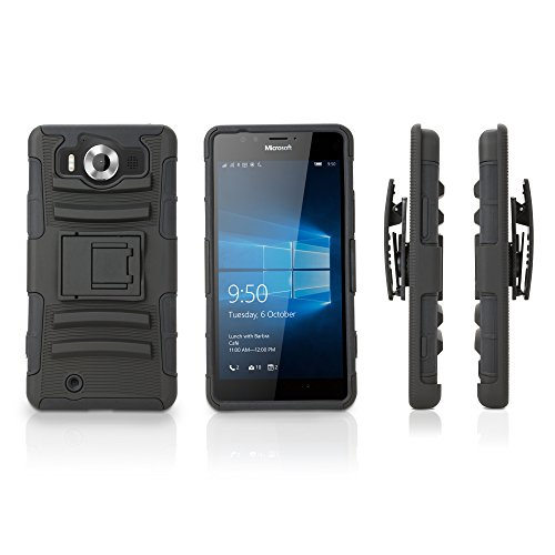 Nokia Lumia 950 Holster, BoxWave [Dual+ Max Holster] Shell Cover and Belt Clip Holster with Kickstand for Nokia Lumia 950 - Pitch Black