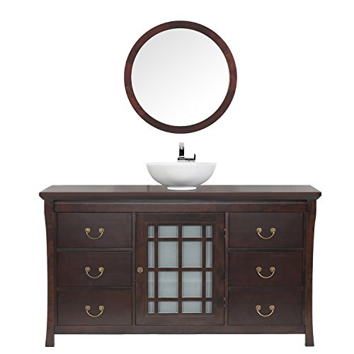 maykke shoji 64 pacific rim single bathroom vanity set in vintage walnut wood vanity top in vintage walnut ceramic vessel in white mirrors in vintage - Shallow Bathroom Vanity