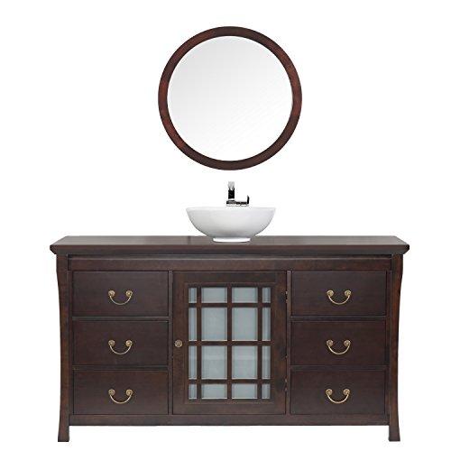 Maykke Shoji 64 Pacific Rim Single Bathroom Vanity Set In Vintage Walnut Wood Vanity Top In