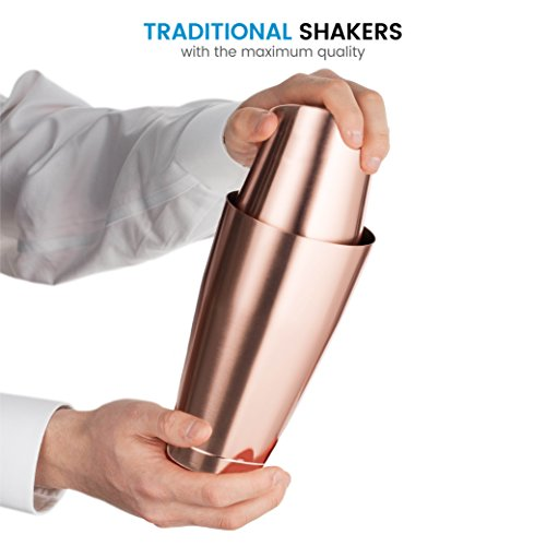 Bartender Boston Cocktail Shaker Set - Copper - Includes 28oz & 18oz Cocktail Shaker 18/8 Durable Food Grade Stainless Steel Bar Shaker Set, Built with Heavy Weighted Shaker Tins For a Perfect Balance by FINEDINE (Image #1)