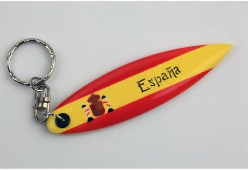 CHAR Lot de 6 Porte-cl/é Bois Planche de Surf Espagne Espana ESPA/ÑA