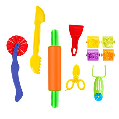Pandapia 10 PCS Play Dough doh Tools Playsets with Scissor Rolling Pin For Toddler Kids Preschool toys Classroom Prizes