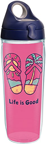 Tervis 1285385 Life is Good - Pink Flip Flops Tumbler with Wrap and Navy with Gray Lid 24oz Water Bottle, Clear