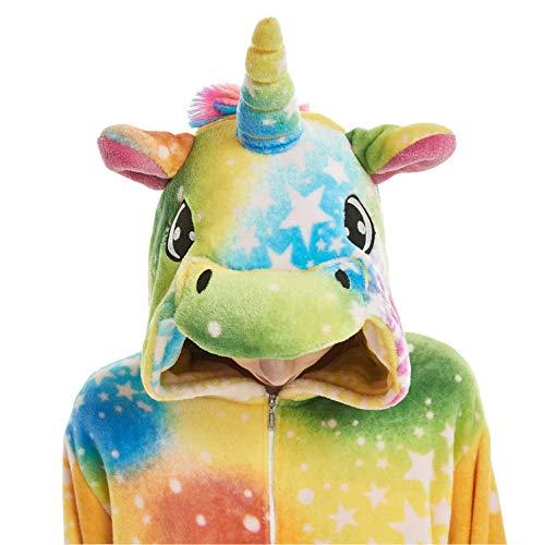 Kids Fleece Onesie Unicorn Pajamas Animal Halloween Christmas Cosplay Onepiece Costumes Sleepwear (B-Yellow Sky Unicorn, 120 - Height -
