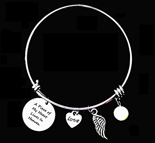 """A Piece of My Heart Lives In Heaven "" Commemorative Adjustable Wire Bangle Bracelet-Memorial Jewelry"