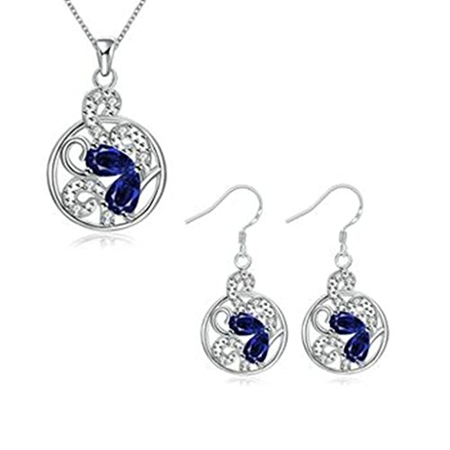 yoursfs 18K White Gold Plated Necklace and Earring Set Silver - 9