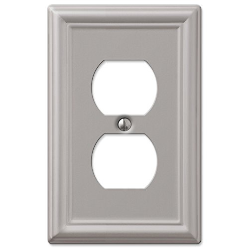 (Duplex Wall Switch Plate Outlet Cover - Brushed Nickel)