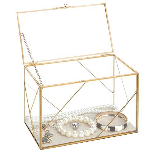 MyGift Geometric Glass & Brass Shadow Box/Jewelry Display ()