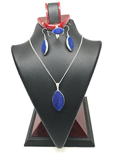 - 14.9 Grams Handmade Natural Lapis Lazuli Sterling Silver Marquise Shape Pendant, Earring, Ring Set, Ring Size 7, SE03