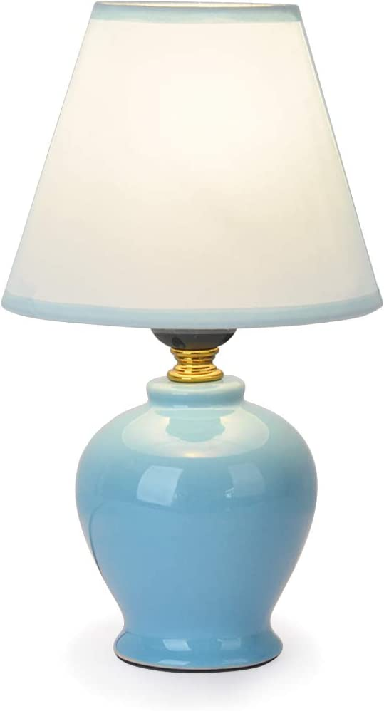 Mini Blue Ceramic Table Lamp,TEBLAMPUE Modern Decor Desk Lamps with Light Blue Fabric Shade for Bedroom Bedside Table Girls Room(Include Bulb)10.2 inches H