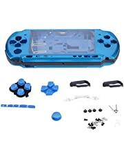 fosa Replacement Full Housing Console Game Shell Case Cover Back Repair Parts for PSP 3000/PlayStation Portable 3000 System, Shock-Absorption and Anti-Scratch Design(Blue)