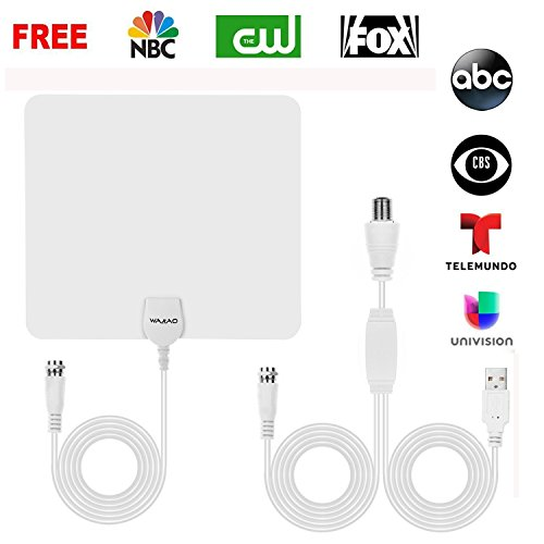 TV Antenna, 2018 New Version HD Antenna Indoor 50-70 Miles Long Range with Detachable Amplifier Signal Booster, Upgraded Version-10ft Coax Cable by WAAO