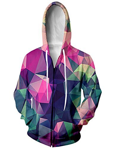 RAISEVERN Unisex Rainbow Geometric Figures Color Block Jersey Full Zip Baseball Hooded Sweatshirt Jacket - Hoodie Block Zip