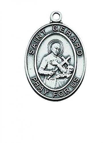 "Sterling Silver St Gerard Medal Patron Saint of Expectant Mothers and Difficult Pregnancies 1"" LENGTH"