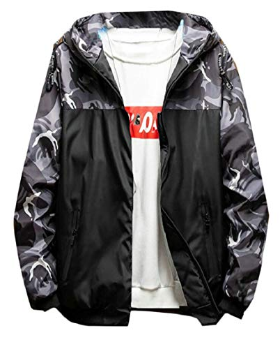 Gocgt Camo Down Coat Grey Hoodies Padded Warm Jacket Men's Fashion Winter Thick rBTqrpU