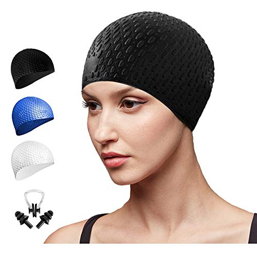 Go-sport Swim Cap Women, Long Hair Swimming Cap 3D Ergonomic Design Silicone Swimming Hats for Women Kids Men Adults Boys Girls with Nose Clip and Ear Plugs (Black)