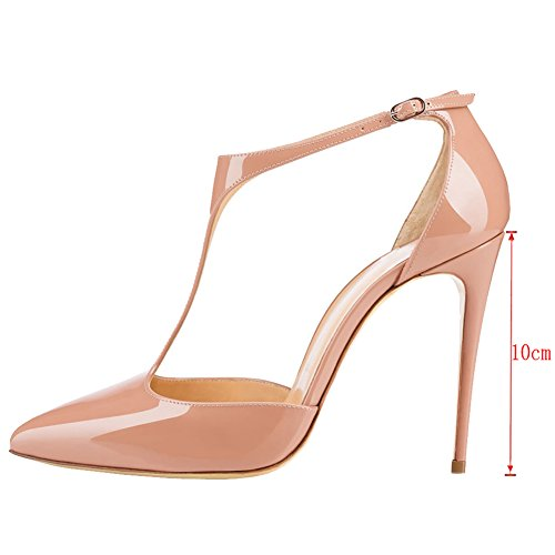 Strap Ladies Shoes MERUMOTE With Pointed Women Heels Buckle High Patent Stilettos 191 Pumps Nude Toe Y T 6wvAR6