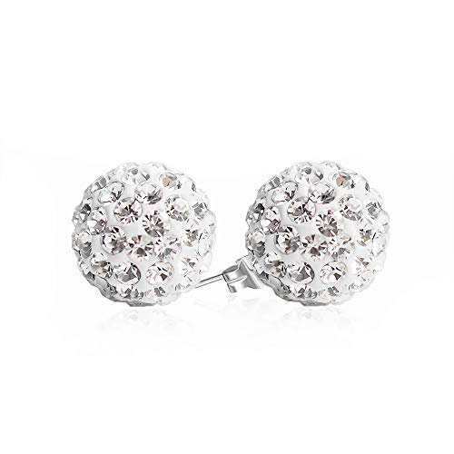 BAYUEBA 925 Sterling Silver Crystal Ball Stud Earrings Mothers Day Gifts for Wife Mom 8mm Clear