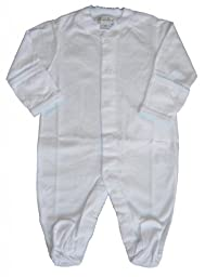 Kissy Kissy Baby Signature Footie-White with Blue-0-3 Months