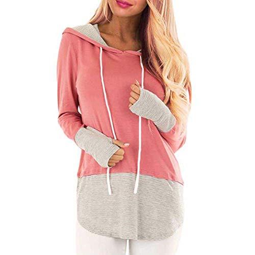 Tees Stripe Hoodie Tops (QINSEN Women XL Hoody Tees Stripe Color Block Hoodies Long Sleeve Drawsting Sweatshirt Pink)