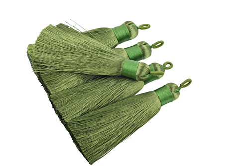 (KONMAY 10pcs 3.4''(8.5cm) Handmade Imitation Silk Tassels with Hanging Loop for Jewelry Making (Army Green))