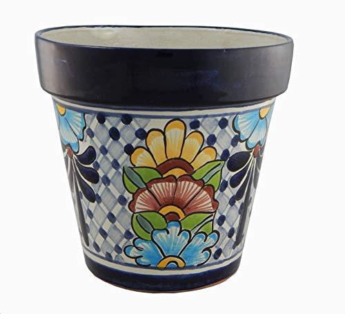 Mexican Talavera Planter Ceramic Flower Pot Folk Art Pottery Garden Handmade # 15